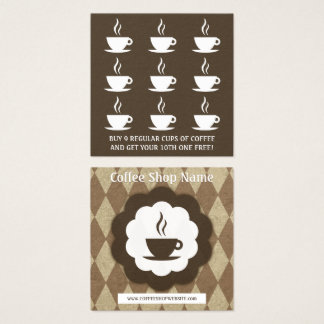 Retro Kaffeediamant-Loyalitätsdurchschlag Quadratische Visitenkarte