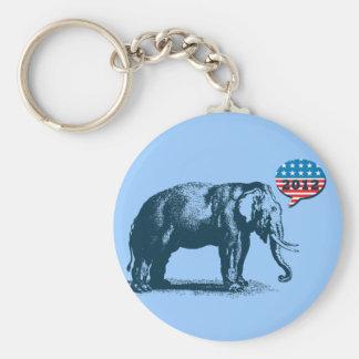 Retro Kampagne Keychain GOP-Elefant-2012 Standard Runder Schlüsselanhänger