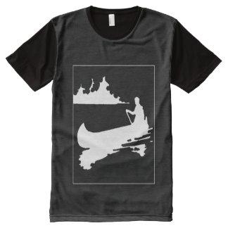 Retro Kanu-Silhouette-Platten-T - Shirt