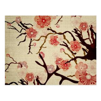 Retro Kirschblüten-Postkarte