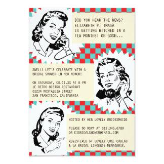Retro Klatsch-Gallonen-Brautparty-Einladungen 12,7 X 17,8 Cm Einladungskarte