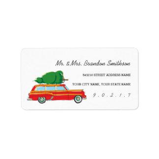 Retro Kombiwagen-Weihnachtsbaum-Aufkleber Adressaufkleber