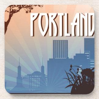 Retro Kunst Portlands, Oregon Untersetzer