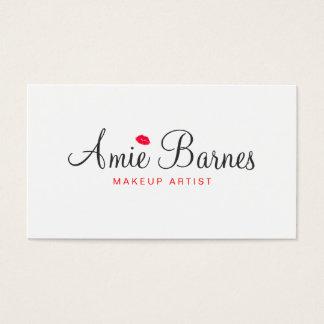 Retro küssende LippenMaskenbildner-Weiß-Schönheit Visitenkarten