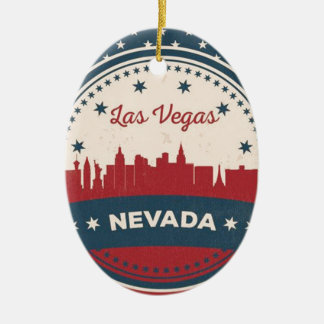 Retro Las Vegas-Skyline Keramik Ornament
