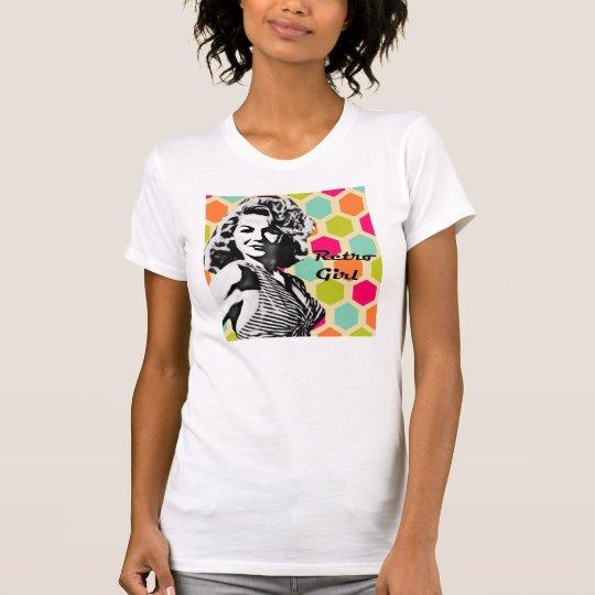 Retro Mädchen-mutiger Haar-T - Shirt