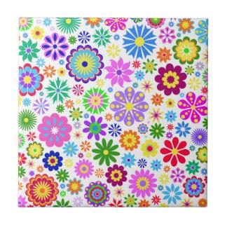 retro, mit Blumen, trendy, glücklich, bunt, girly, Kleine Quadratische Fliese