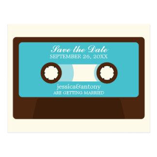 Retro Mixtape, das Save the Date Wedding ist Postkarten