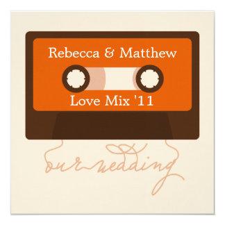 Retro Mixtape Hochzeit Quadratische 13,3 Cm Einladungskarte