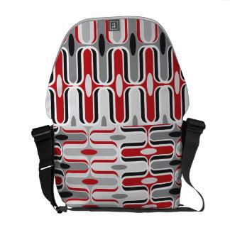 Retro Mod-Zickzack Ogee Muster-rote schwarze Kunst Kuriertaschen
