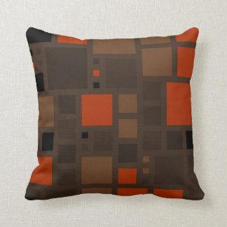 Retro Mosaik quadriert | Brown Orange Kissen