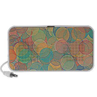 Rétro motif abstrait multicolore de cercles haut-parleurs notebook