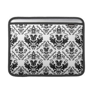 Rétro motif blanc noir élégant de damassé poche macbook