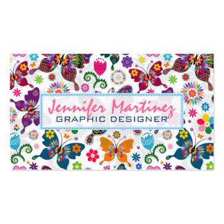 Rétro motif coloré 2 de papillons et de fleurs carte de visite standard