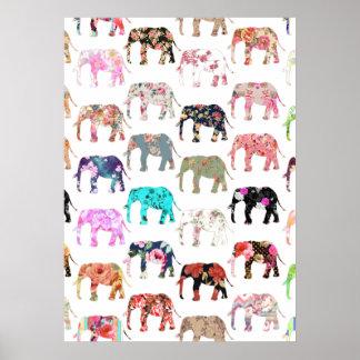 Rétro motif floral lunatique Girly d'éléphants Poster
