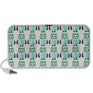 Rétro motif vert vintage de hiboux haut-parleur iPhone