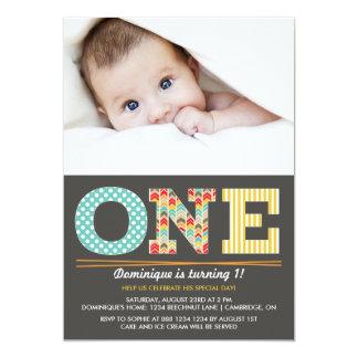 Retro Muster-erste Geburtstags-Foto-Einladung 12,7 X 17,8 Cm Einladungskarte