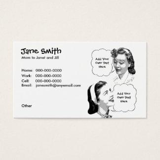 Retro Mutter-u. Tochter-Kontakt-Karte Visitenkarte