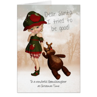 Retro niedliche Weihnachtskarte Enkelin-liebe Grußkarte