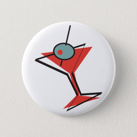 Retro olivgrüner Martini Runder Button 5,7 Cm