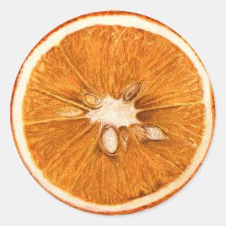 Retro orange Scheibe-runde Aufkleber