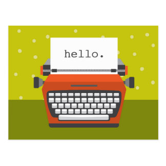 Retro orange Schreibmaschinen-kundengerechte Postkarte