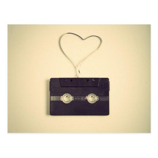 Rétro outre de l'amour blanc de motif de cassette  cartes postales