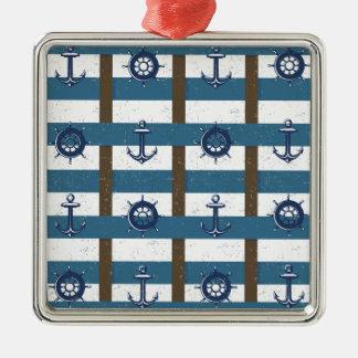 Retro Ozean-und Seeseeankerbraun Blau Silbernes Ornament
