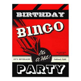 Retro Party-rote Schwarz-weiße Bingo-Einladungen Karte