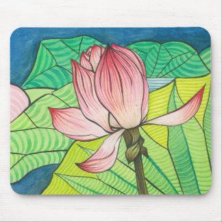 Rétro Pink Lotus Tapis De Souris