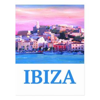 Retro Plakat Ibiza alte Stadt und Hafen Postkarte