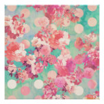 Rétro pois floral rose romantique de Teal de motif Posters