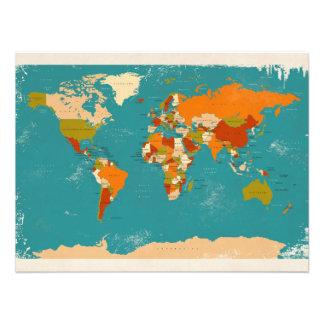 Retro politische Karte der Welt Fotografischer Druck
