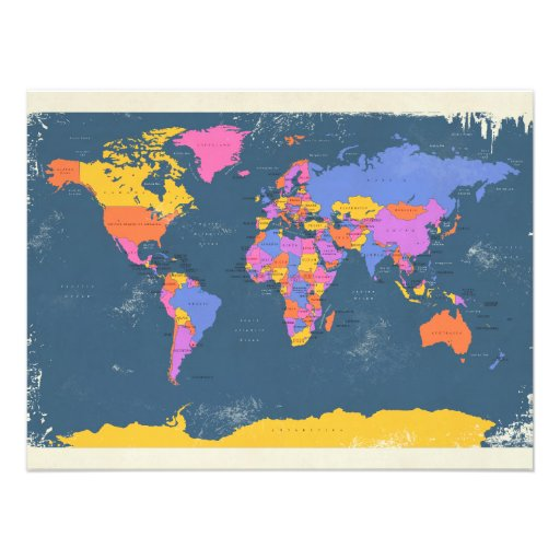 Retro politische Karte der Welt Kunstphotos
