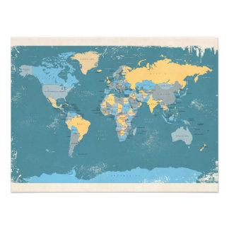 Retro politische Karte der Welt Photographischer Druck