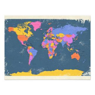 Retro politische Karte der Welt Foto