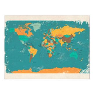 Retro politische Karte der Welt Photodruck