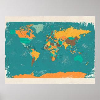 Retro politische Karte der Welt Poster