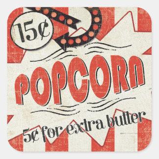 Retro Popcorn Quadratischer Aufkleber