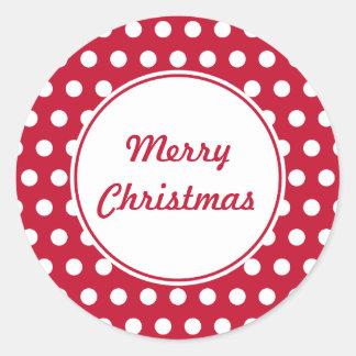 Retro Punkt-rote frohe Weihnacht-Aufkleber Runder Aufkleber