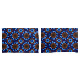 retro Punkte des blauen Brauns der Kissen-Hüllen Kissenbezug