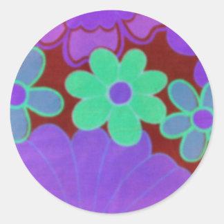 Rétro Regard-Lumineux et l'obscurité fleurit des Adhésif Rond
