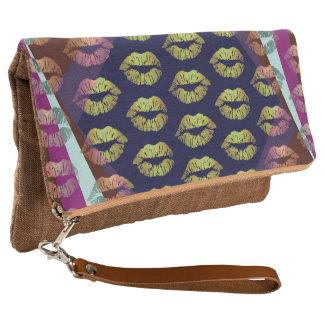 Retro Regenbogen-Lippenstift falten Handtasche