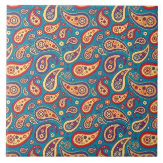 Retro Regenbogen-Paisley-Muster Große Quadratische Fliese