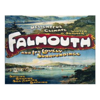 retro Reise des Falmouth-Ferien-Vintagen Bildes Postkarte