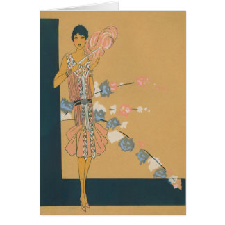 Retro rosa Mode und Federn Karte