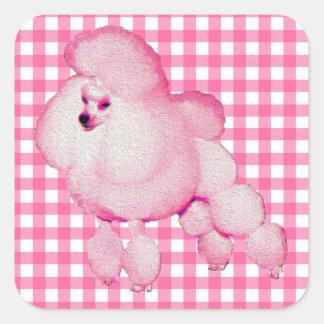 Retro rosa Pudel-Gingham-Aufkleber Quadratischer Aufkleber