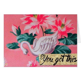 Retro rosa Schwantapeten-Anmerkungskarte Karte
