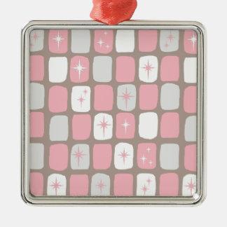 Retro rosa Sternexplosion-Weihnachtsverzierung Silbernes Ornament