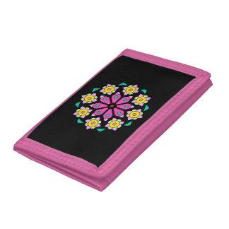 Retro rosa und schwarze NeonBlumenmuster-Geldbörse